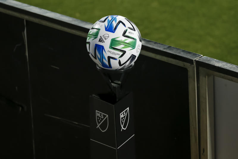 FRISCO, TX - AUGUST 16: An official MLS soccer ball waits on a stand during the game between the FC Dallas and the Nashville SC on August 16, 2020 at Toyota Stadium in Frisco, Texas. (Photo by Matthew Pearce/Icon Sportswire via Getty Images)