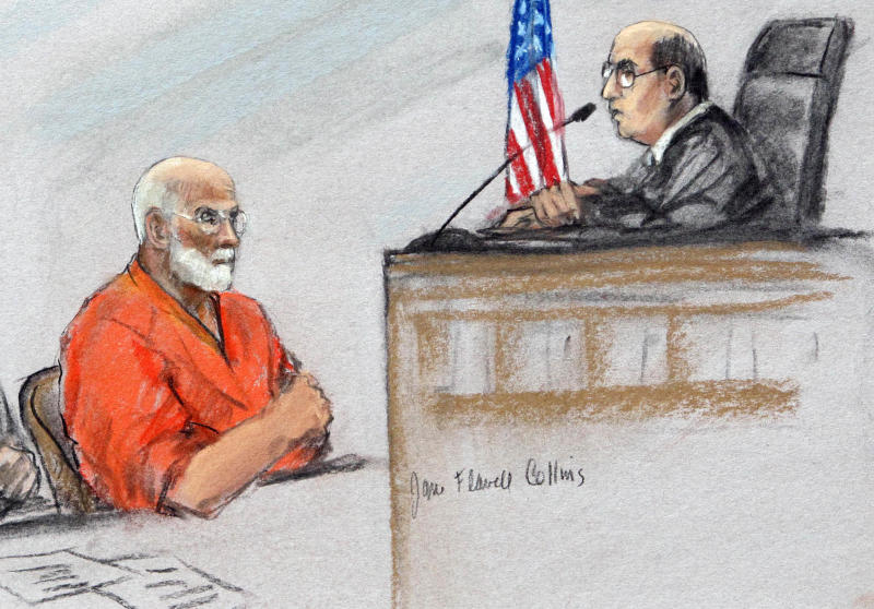 "This courtroom sketch depicts James ""Whitey"" Bulger before U.S. District Judge Mark Wolf during a hearing in a federal courtroom in Boston Tuesday, June 28, 2011.  Prosecutors dismissed a 1994 racketeering indictment against Bulger in order to focus on a later indictment that charged the newly captured fugitive with being involved in 19 murders. (AP Photo/Jane Flavell Collins)"