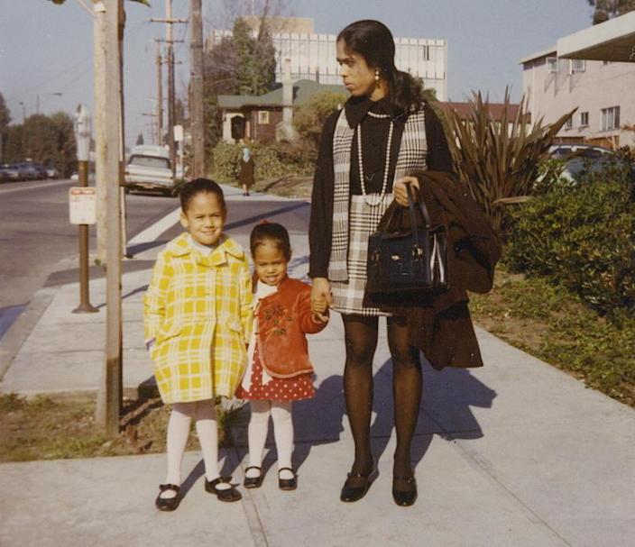 Kamala Harris, left, with her sister, Maya, and mother, Shyamala. Her parents divorced when she was young. (Courtesy of Kamala Harris)