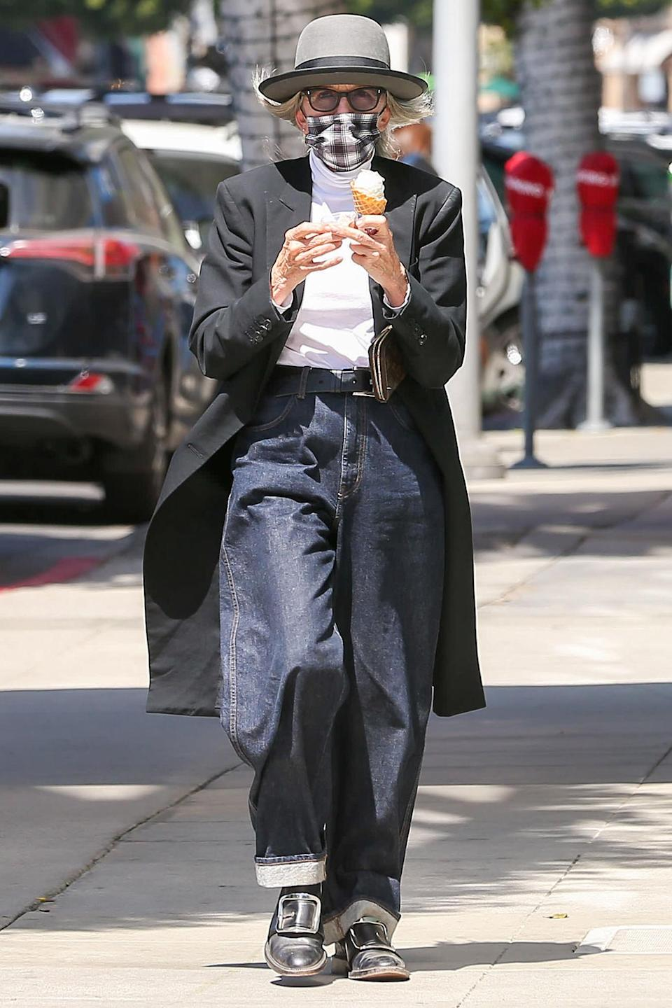 <p>Diane Keaton was spotted enjoying an ice cream cone in Los Angeles.</p>