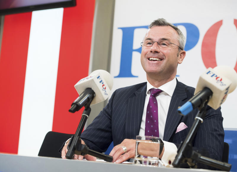 In this Monday, May 20, 2019, file photo, designated leader of the right-wing Freedom Party, FPOE, addresses the media during a press conference in Vienna, Austria. Austria's far-right Freedom Party elected former minister and presidential candidate Norbert Hofer as its leader on Saturday as it seeks to return to government in a Sept. 29, 2019, national election. (AP Photo/Michael Gruber)