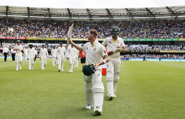 Steve Smith walks off with an unbeaten century to his name during Australia's 2017 win over England in Brisbane (Jason O'Brien/PA)