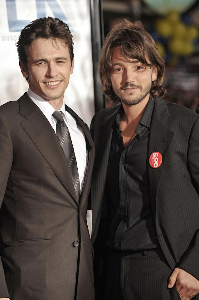 "<a href=""http://movies.yahoo.com/movie/contributor/1800352352"">James Franco</a> and <a href=""http://movies.yahoo.com/movie/contributor/1804575242"">Diego Luna</a> at the San Francisco premiere of <a href=""http://movies.yahoo.com/movie/1810041985/info"">Milk</a> - 10/28/2008"