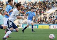 Yokohama FC forward Kazuyoshi Miura (R) is not the only veteran raging against the dying light in the J-League