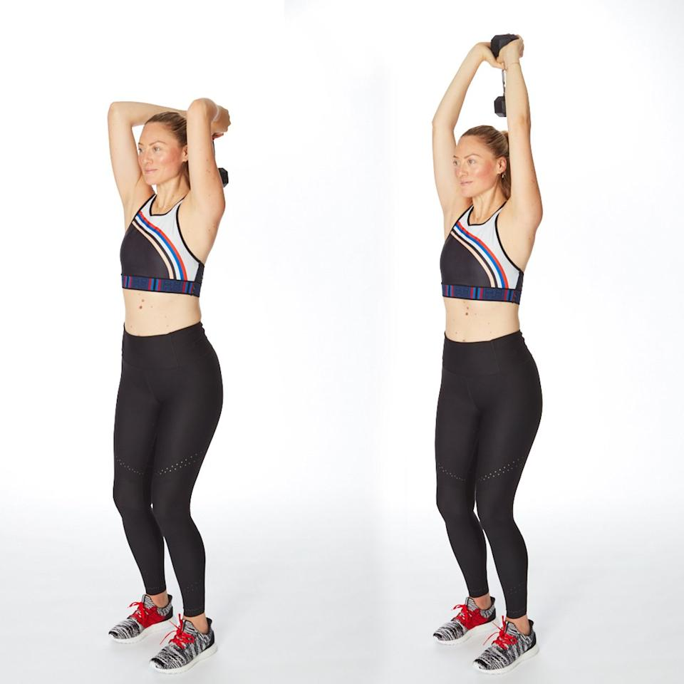 """<p>Core strength keeps this dumbbell arm exercise safe and more effective, so be sure to supplement this 5-minute arm workout with these <a href=""""https://www.shape.com/fitness/videos/abs-exercises-you-can-do-every-day-stronger-core"""">top ab moves</a>.</p> <ul><li>Stand with feet wide, knees soft, holding a dumbbell with both hands in front of the chest. Engage abs and bring arms overhead, biceps next to ears.</li> <li>Bend elbows and lower the weight behind head all the way down to shoulders (avoid letting elbows open out to the side and relax neck).</li> <li>Raise arms overhead to return to start (use abdominal muscles to keep torso steady as arms raise and lower, and don't let ribs flare out). </li> </ul><p><strong>Do 20 reps.</strong></p>"""