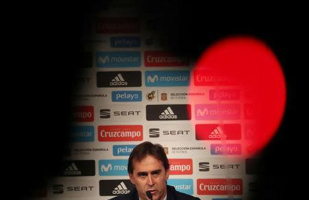 Soccer Football - FIFA World Cup - Spain Coach Julen Lopetegui Press Conference - Headquarters of Telefonica, Madrid, Spain - May 21, 2018 Spain coach Julen Lopetegui during the press conference REUTERS/Susana Vera