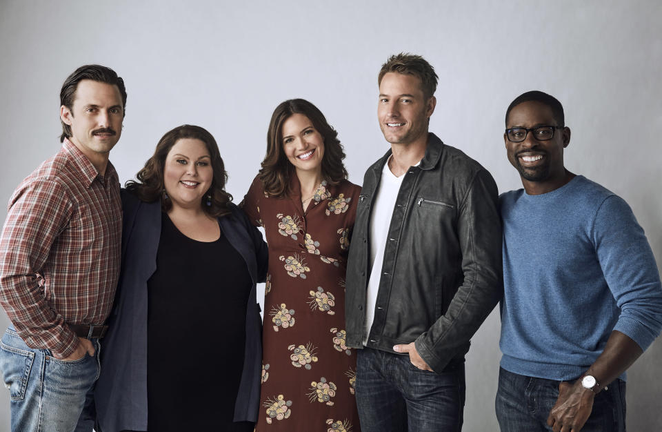Members of the <i>This Is Us</i> cast: Milo Ventimiglia as Jack, Chrissy Metz as Kate, Mandy Moore as Rebecca, Justin Hartley as Kevin, and Sterling K. Brown as Randall. (Photo: Maarten de Boer/NBC/NBCU Photo Bank)
