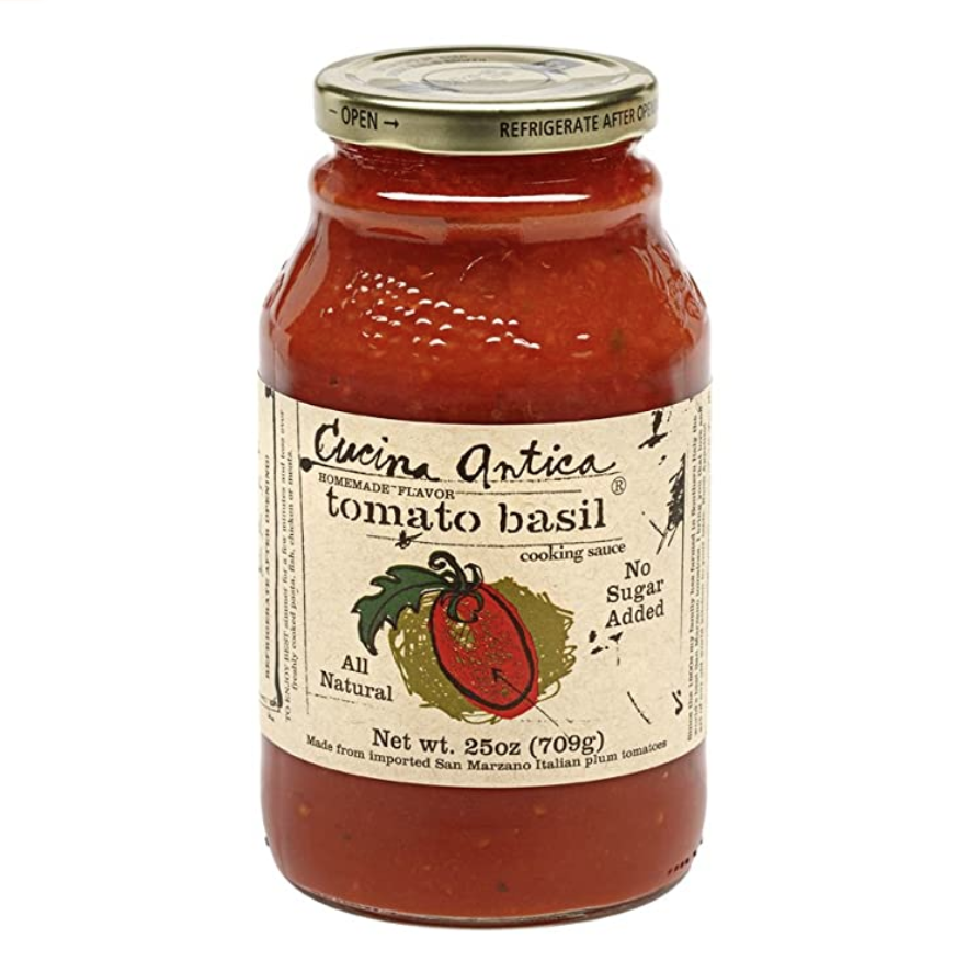 """<p><strong>Cucina Antica</strong></p><p>amazon.com</p><p><a href=""""https://www.amazon.com/dp/B001N3NPV4?tag=syn-yahoo-20&ascsubtag=%5Bartid%7C10055.g.32971830%5Bsrc%7Cyahoo-us"""" rel=""""nofollow noopener"""" target=""""_blank"""" data-ylk=""""slk:Shop Now"""" class=""""link rapid-noclick-resp"""">Shop Now</a></p><p>Tomato sauce is notorious for high sodium counts and laundry list of ingredients. Plus, some lower sodium varieties just spike up the added sugar. <strong>Cucina Antica provides a delicious tasting, traditional tomato basil sauce with real ingredients you can pronounce and no added sugar.</strong> A 1/2 cup serving only has 45 calories, 1 gram of fat, and 230 mg sodium which is considerably less than other brands. </p>"""