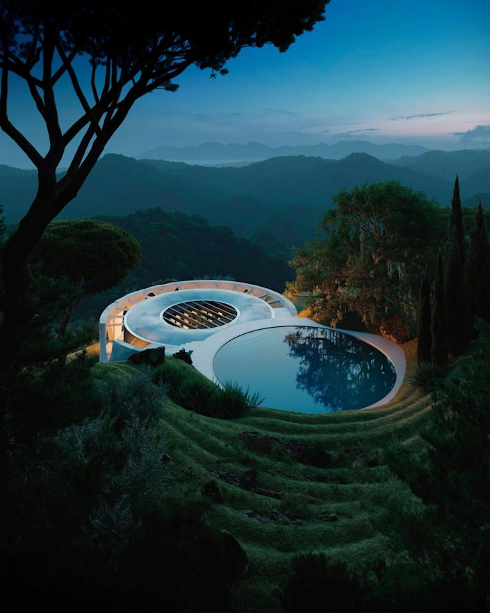 A sleek circular pool adorns the uppermost ring of the conceptual Henge Hill home.