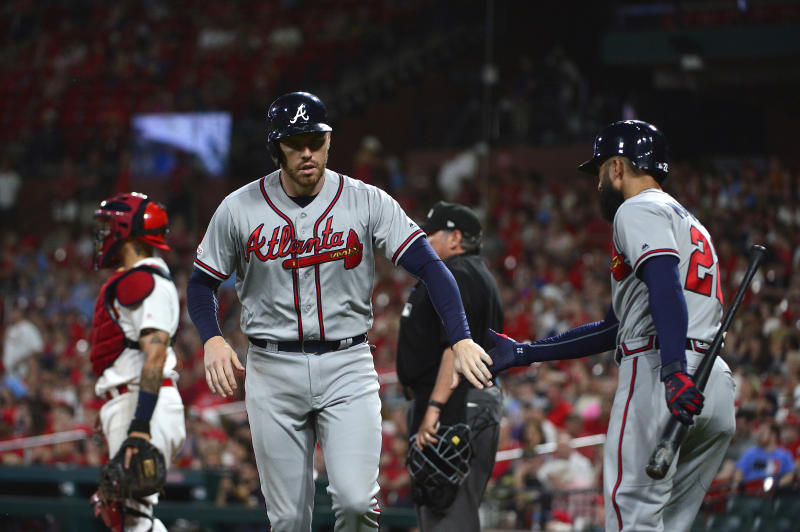 Atlanta Braves first baseman Freddie Freeman (5) has been dealing with an elbow injury lately. The Braves will need him to be at his best in their playoff series against the Cardinals. (Jeff Curry-USA TODAY Sports)