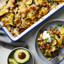 """<p>Think of this vegetarian enchilada casserole as a veggie-packed Mexican lasagna with corn tortillas standing in for the noodles! If your peppers are mild and you like heat, opt for spicy pico de gallo. This easy vegetarian dinner recipe is sure to become a new family favorite. <a href=""""http://www.eatingwell.com/recipe/278505/vegetarian-enchilada-casserole/"""" rel=""""nofollow noopener"""" target=""""_blank"""" data-ylk=""""slk:View recipe"""" class=""""link rapid-noclick-resp""""> View recipe </a></p>"""