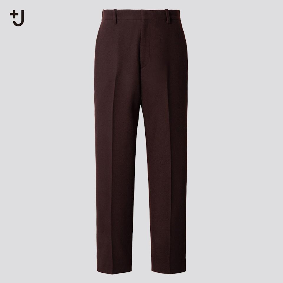"""<p><strong>Uniqlo</strong></p><p>uniqlo.com</p><p><strong>$79.90</strong></p><p><a href=""""https://go.redirectingat.com?id=74968X1596630&url=https%3A%2F%2Fwww.uniqlo.com%2Fus%2Fen%2Fmen-plusj-wool-tapered-pants-436117.html&sref=https%3A%2F%2Fwww.esquire.com%2Fstyle%2Fmens-fashion%2Fg34654836%2Funiqlo-j-jil-sander-collaboration-2020%2F"""" rel=""""nofollow noopener"""" target=""""_blank"""" data-ylk=""""slk:Buy"""" class=""""link rapid-noclick-resp"""">Buy</a></p><p>The hard pants so soft they'll finally help you kick your sweatpant habit. </p>"""