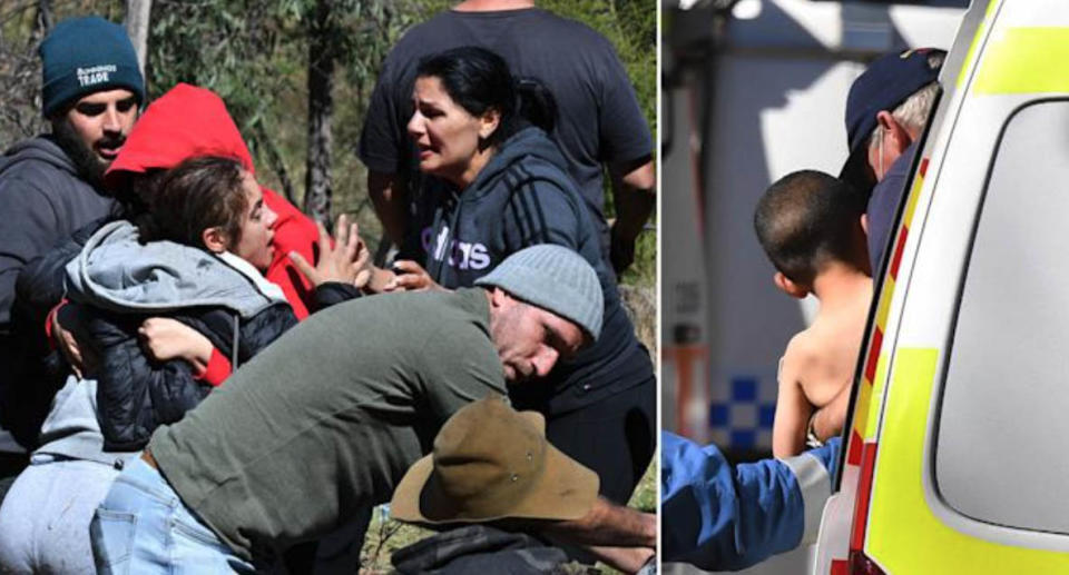 LEFT: Emotional scenes as Kelly Elfalak, AJ's mother, is helped by family and friends as she rushes to the site where AJ has been found alive. RIGHT: AJ Elfalak is carried from an ambulance before being transported to hospital. Source: AAP
