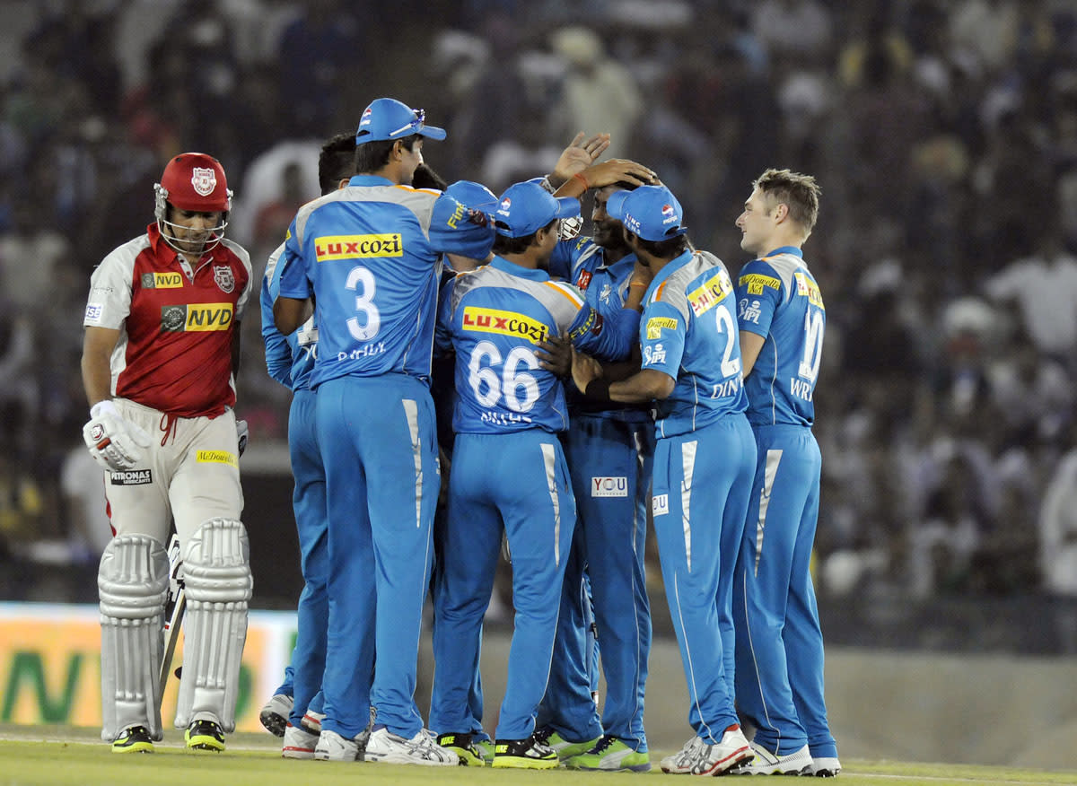 Ajantha Mendis of Pune Warriors celebrates the wicket of Azhar Mahmood of Kings XI Punjab during match 29 of the Pepsi Indian Premier League between The Kings XI Punjab and the Pune Warriors held at the PCA Stadium, Mohali, India  on the 21st April 2013. (BCCI)