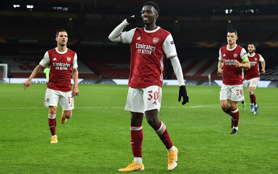 Arsenal's English striker Eddie Nketiah celebrates after scoring his team's first goal during the UEFA Europa League 1st round day 2 Group B football match between Arsenal and Dundalk at the Emirates Stadium in London on October 29, 2020. - AFP/GLYN KIRK