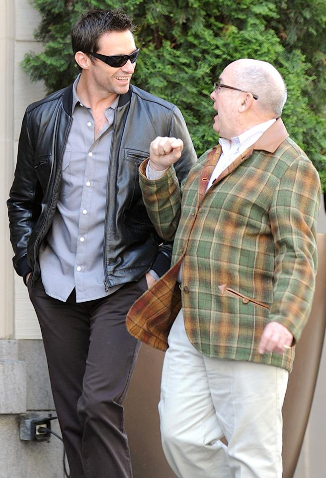 EXCLUSIVE: Hugh Jackman and his dad, Chris, take a walk in San Francisco. The 'Wolverine' star took his dad on a tour of the neighbourhood around his hotel and stopped at an ATM to get come cash. Earlier, Hugh, met with some other friends for lunch nearby.