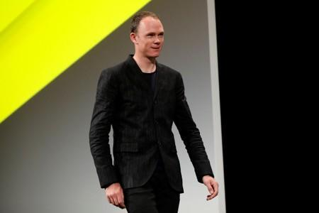 Cyclist Chris Froome attends a news conference to unveil the itinerary of the 2019 Tour de France cycling race in Paris