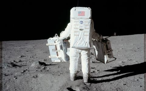 Aldrin deploys two components of the Early Apollo Scientific Experiments Package - Credit: NASA