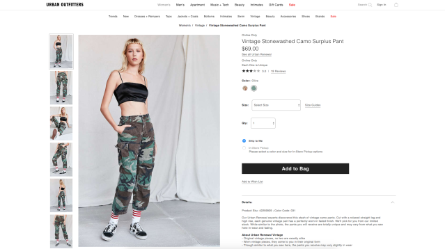 Vintage Stonewashed Camo Surplus Pant, $69. (Photo: Urban Outfitters)