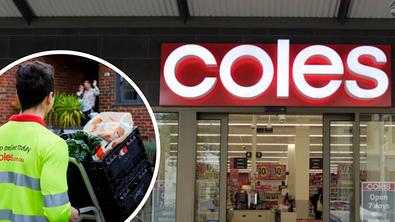 Pictured: Coles supermarket, Coles worker making home delivery. Images: Getty, Supplied
