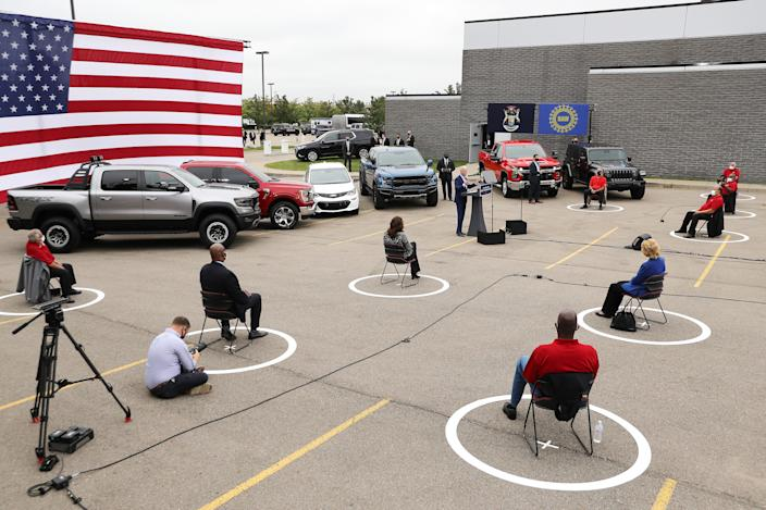 With his audience of union leadership and journalists socially distanced to reduce the risk posed by coronavirus, Democratic presidential nominee and former Vice President Joe Biden delivers remarks in the parking lot outside the United Auto Workers Region 1 offices on September 09, 2020 in Warren, Michigan.