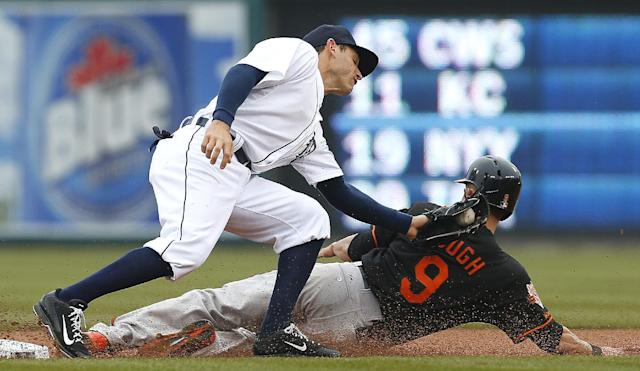Baltimore Orioles' David Lough steals second base under the tag of Detroit Tigers second baseman Ian Kinsler in the first inning of a baseball game in Detroit Friday, April 4, 2014. (AP Photo/Paul Sancya)