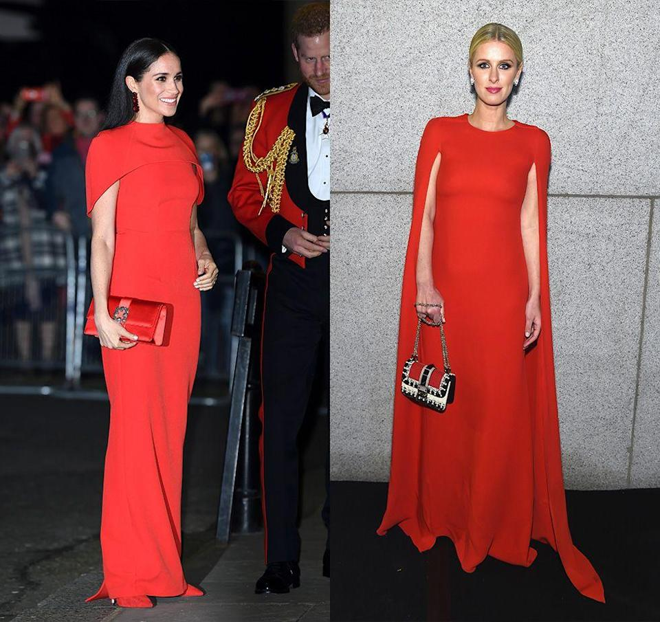 """<p>Meghan Markel made a statement when she wore a <a href=""""https://www.harpersbazaar.com/celebrity/latest/a31269984/meghan-markle-red-cape-dress-mountbatten-festival-of-music/"""" rel=""""nofollow noopener"""" target=""""_blank"""" data-ylk=""""slk:red cape gown by Safiyaa"""" class=""""link rapid-noclick-resp"""">red cape gown by Safiyaa</a> to the Royal Albert Hall in March 2020. Nicky Hilton wore a similar dress to the amfAR gala in New York City in 2015. </p>"""