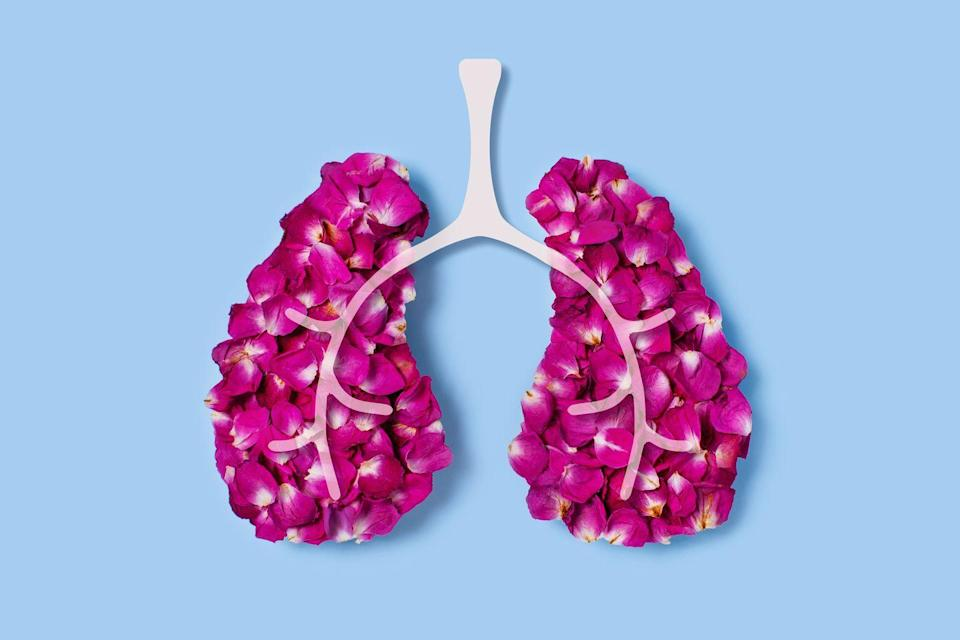 """<p>For the <a href=""""https://www.aafa.org/allergic-asthma/"""" rel=""""nofollow noopener"""" target=""""_blank"""" data-ylk=""""slk:25 million Americans who have asthma"""" class=""""link rapid-noclick-resp"""">25 million Americans who have asthma</a>, allergens are the most common trigger, points out Dr. Parikh. When you breathe in an allergen (say, pet dander, mold, dust mites, or pollen) your immune system reacts by releasing antibodies that can trigger inflammation of the airways in your lungs, making it harder to breathe.</p>"""
