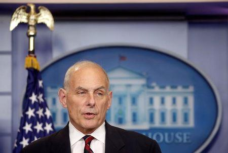 Secretary of Homeland Security John Kelly speaks about border security during a press briefing at the White House in Washington