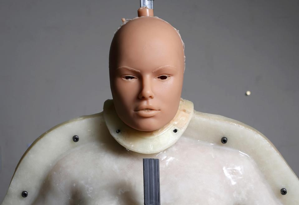 A silicone dream doll is seen in its mold at the workshop of the Dreamdoll company in Duppigheim near Strasbourg, February 18, 2015. The realistic silicone sex dolls can be ordered from a catalogue based on four hair and eye color models for a base price of 5,500 euros ($6,150). The dolls weigh around 40 kilos due to a lightweight aluminum structure and take a week to construct. The company of three employees produces some one hundred custom-made silicone sex dolls a year, mainly for European customers. Picture taken February 18, 2015. REUTERS/Vincent Kessler (FRANCE - Tags: SOCIETY BUSINESS TPX IMAGES OF THE DAY)