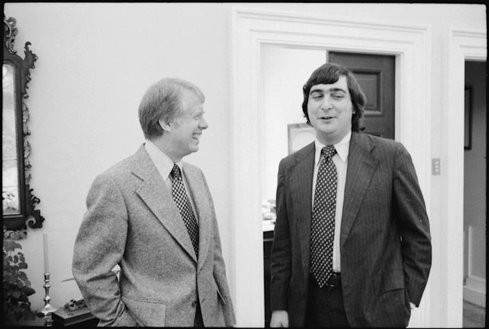 Patrick Caddell with Jimmy Carter in November 1977. (Photo: U.S. National Archives and Records Administration)