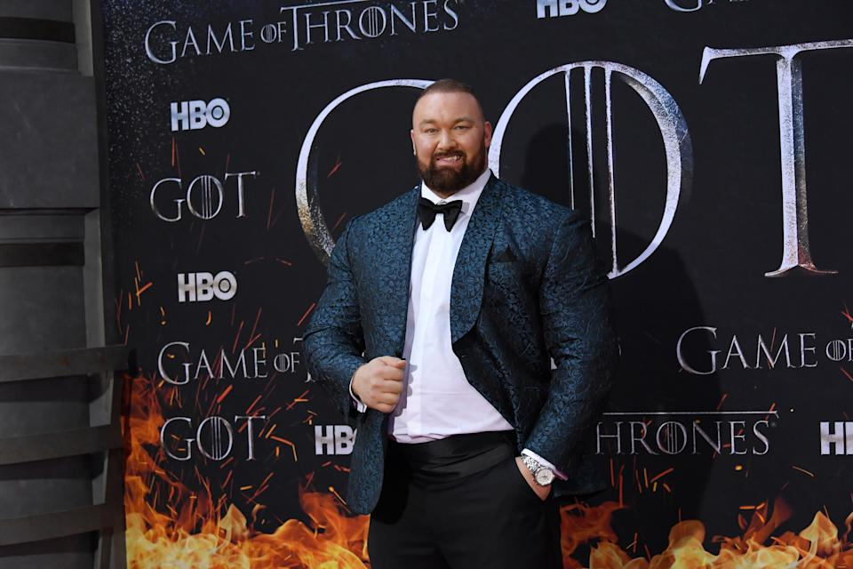 """Hafþor Julius Bjornsson attends the """"Game Of Thrones"""" season 8 premiere on April 3, 2019 in New York City.  (Photo by Mike Coppola/FilmMagic)"""