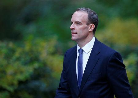 Britain's Secretary of State for Exiting the European Union Dominic Raab arrives at 10 Downing Street in London
