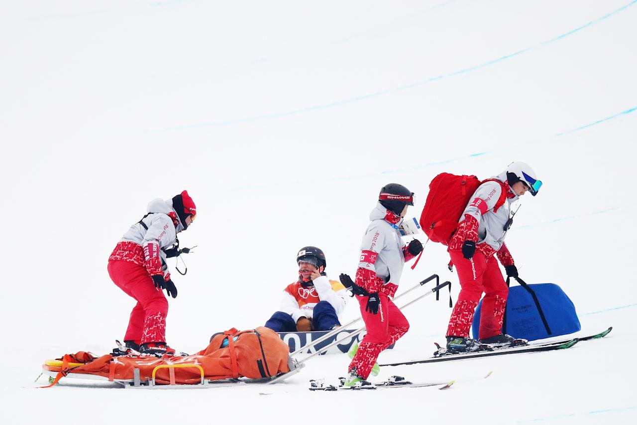 <p>Yuto Totsuka of Japan is attended to by medical staff after crashing in the during the Snowboard Men's Halfpipe Final on day five of the PyeongChang 2018 Winter Olympics at Phoenix Snow Park on February 14, 2018 in Pyeongchang-gun, South Korea. (Photo by Cameron Spencer/Getty Images) </p>