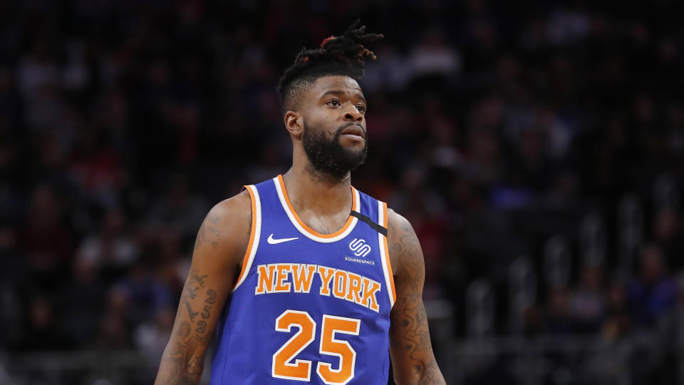 New York Knicks guard Reggie Bullock seen during the first half of an NBA basketball game, Saturday, Feb. 8, 2020, in Detroit. (AP Photo/Carlos Osorio)