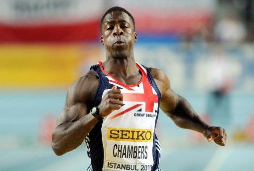 Britain's Dwain Chambers competes in the men's 60m semi-final at the World Indoor Athletics Championships in Istanbul on March 10. The chairman of the British Olympic Association, Colin Moynihan, urged the Court of Arbitration for Sport to reject a challenge to their policy of a lifetime Olympics ban for drugs cheats. If the challenge succeeds Chambers could be eligible for this year's Olympics