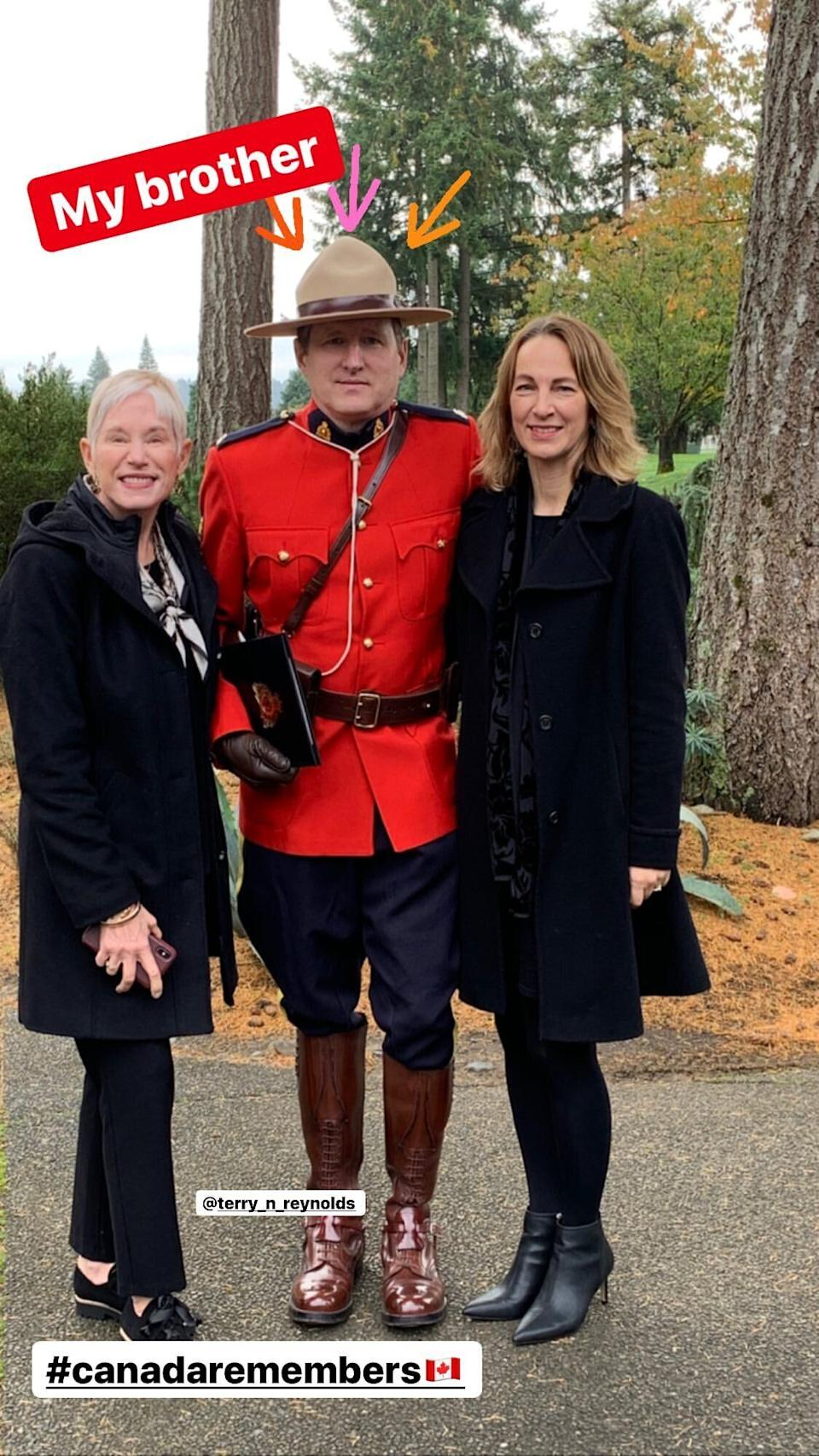 Ryan Reynolds posted this photo of his brother Terry, a Mountie.  (Photo: Ryan Reynolds / Instagram)