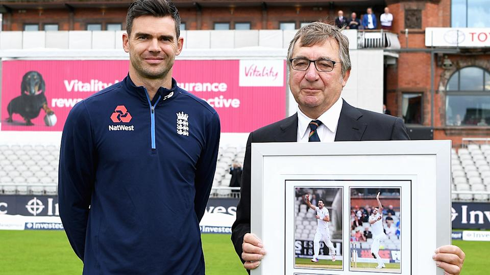 David Hodgkiss, pictured here with James Anderson at Old Trafford in 2017.