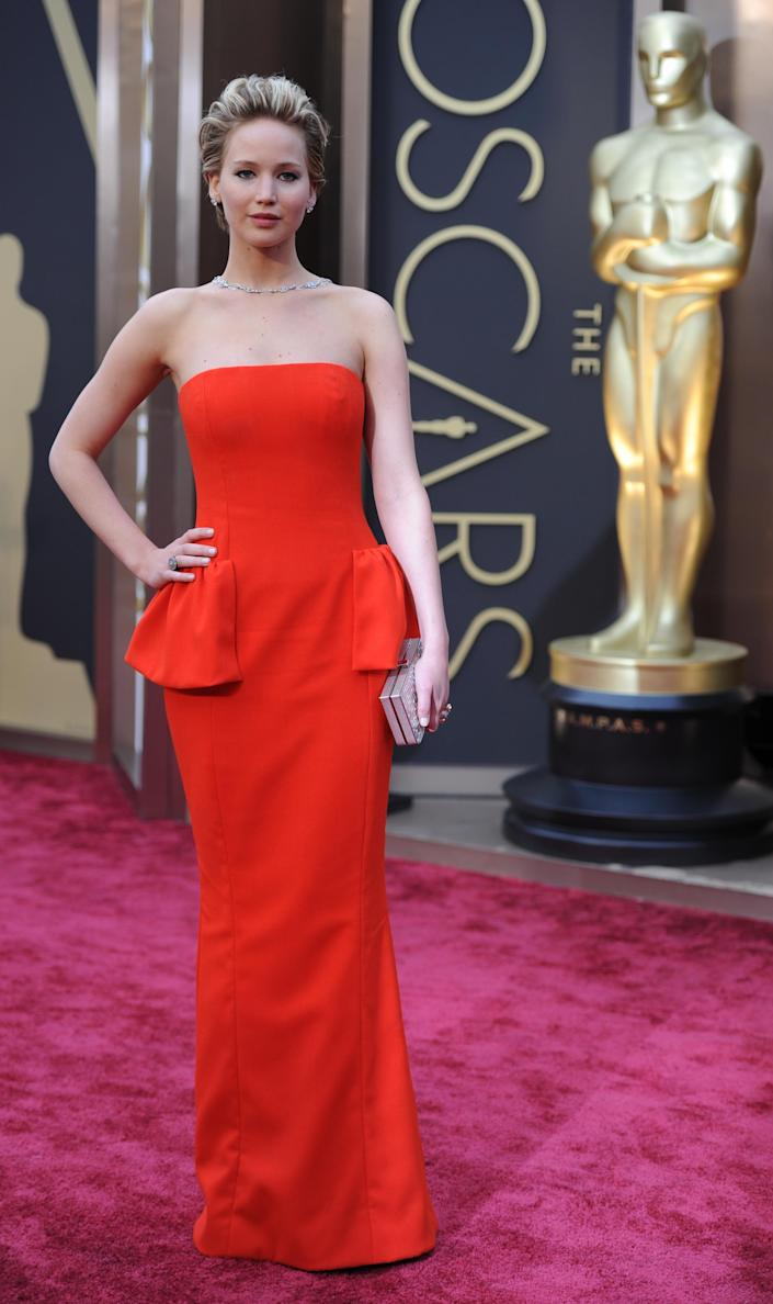 Oscar-winning actress Jennifer Lawrence arrives for the 86th Academy Awards on March 2, 2014 in Hollywood, California (AFP Photo/Robyn Beck)