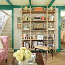 """<p>Back in the day, John Loecke and Jason Oliver Nixon of the interior design firm Madcap Cottage lived in every inch of their <a href=""""https://www.countryliving.com/home-design/house-tours/g3573/catskills-converted-schoolhouse/"""" rel=""""nofollow noopener"""" target=""""_blank"""" data-ylk=""""slk:858-square-foot circa 1840s schoolhouse"""" class=""""link rapid-noclick-resp"""">858-square-foot circa 1840s schoolhouse</a>. Their tiny living room is no exception—it's packed with patterns and punctuated with a bold green trim in <a href=""""https://www.benjaminmoore.com/en-us/color-overview/find-your-color/color/cw-550/geddy-verdigris?color=CW-550"""" rel=""""nofollow noopener"""" target=""""_blank"""" data-ylk=""""slk:Geddy Verdigris by Benjamin Moore"""" class=""""link rapid-noclick-resp"""">Geddy Verdigris by Benjamin Moore</a>. </p>"""