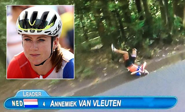 <p>Dutch cyclist Annemiek Van Vleuten was in the lead of the road race when she took a scary tumble that fractured her spine. This story has a happy spin to it, Van Vleuten has already gotten back on her bike and has started the healing process. (Getty Images/NBC) </p>