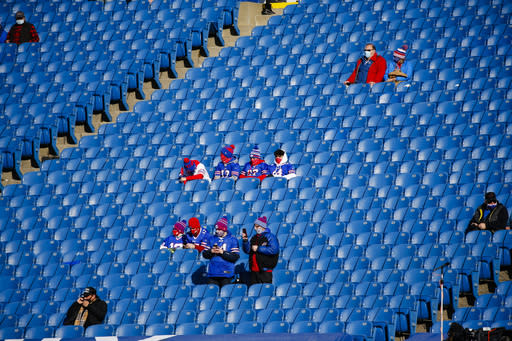 Buffalo Bills fans, sit apart, watch as their team warm up before an NFL wild-card playoff football game against the Indianapolis Colts, Saturday, Jan. 9, 2021, in Orchard Park, N.Y. (AP Photo/Jeffrey T. Barnes)