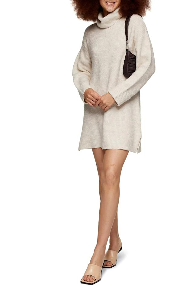 """<p>Get cozy in this <product href=""""https://www.nordstrom.com/s/topshop-funnel-neck-sweater-dress/5724827?origin=keywordsearch-personalizedsort&amp;breadcrumb=Home%2FAll%20Results&amp;color=oatmeal"""" target=""""_blank"""" class=""""ga-track"""" data-ga-category=""""internal click"""" data-ga-label=""""https://www.nordstrom.com/s/topshop-funnel-neck-sweater-dress/5724827?origin=keywordsearch-personalizedsort&amp;breadcrumb=Home%2FAll%20Results&amp;color=oatmeal"""" data-ga-action=""""body text link"""">Topshop Funnel Neck Sweater Dress</product> ($75).</p>"""
