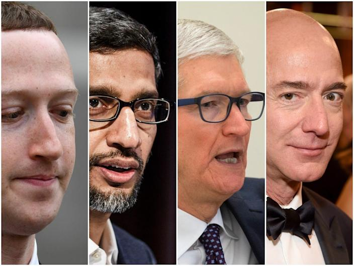 From left to right, Mark Zuckerberg, Sundar Pichai, Tim Cook, and Jeff Bezos.