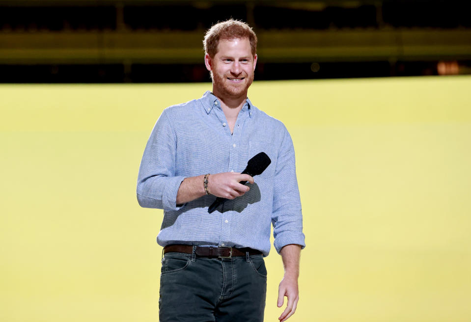 INGLEWOOD, CALIFORNIA: In this image released on May 2, Prince Harry, The Duke of Sussex speaks onstage during Global Citizen VAX LIVE: The Concert To Reunite The World at SoFi Stadium in Inglewood, California. Global Citizen VAX LIVE: The Concert To Reunite The World will be broadcast on May 8, 2021. (Photo by Emma McIntyre/Getty Images for Global Citizen VAX LIVE)