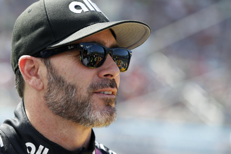 Jimmie Johnson prior to a NASCAR Cup Series auto race at Phoenix Raceway, Sunday, March 8, 2020, in Avondale, Ariz. (AP Photo/Ralph Freso)