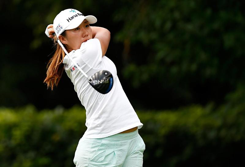 South Korea's Kim In-Kyung tees off on the 9th hole during the second round of the LPGA Portland Classic on August 29, 2014