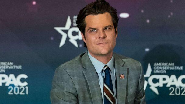 PHOTO: Rep. Matt Gaetz listens during a panel at the Conservative Political Action Conference (CPAC) in Orlando, Fla., Feb. 27, 2021. (Bloomberg via Getty Images, FILE)