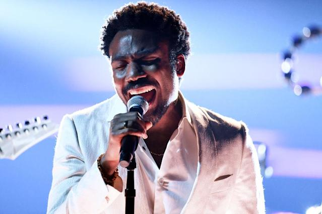 <p>Childish Gambino performs onstage during the 60th Annual Grammy Awards at Madison Square Garden in New York City on January 28, 2018. (Photo: Getty Images) </p>