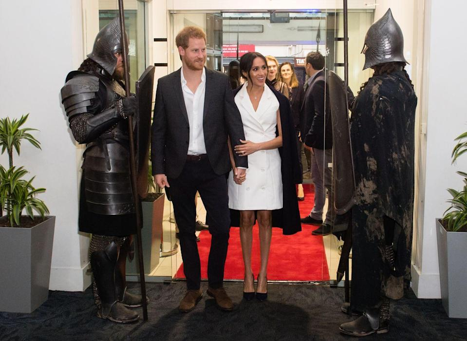 "<p>Harry and Meghan also paid a visit to Courtnay Creative in Wellington, where they met students and professionals working in the creative arts. The Duchess wore a custom version of Maggie Marilyn's ""Leap of Faith"" blazer dress with a pair of navy heels by Manolo Blahnik for the occasion. </p><p><a class=""link rapid-noclick-resp"" href=""https://go.redirectingat.com?id=74968X1596630&url=https%3A%2F%2Fwww.net-a-porter.com%2Fus%2Fen%2Fproduct%2F1074846&sref=https%3A%2F%2Fwww.townandcountrymag.com%2Fstyle%2Ffashion-trends%2Fg3272%2Fmeghan-markle-preppy-style%2F"" rel=""nofollow noopener"" target=""_blank"" data-ylk=""slk:SHOP NOW"">SHOP NOW</a> <em>Maggie Marilyn Leap of Faith Dress, $650</em></p><p><a class=""link rapid-noclick-resp"" href=""https://www.barneys.com/product/manolo-blahnik-bb-pumps-503345489.html"" rel=""nofollow noopener"" target=""_blank"" data-ylk=""slk:SHOP NOW"">SHOP NOW</a> <em>Manolo Blahnik Pumps, $625</em></p>"